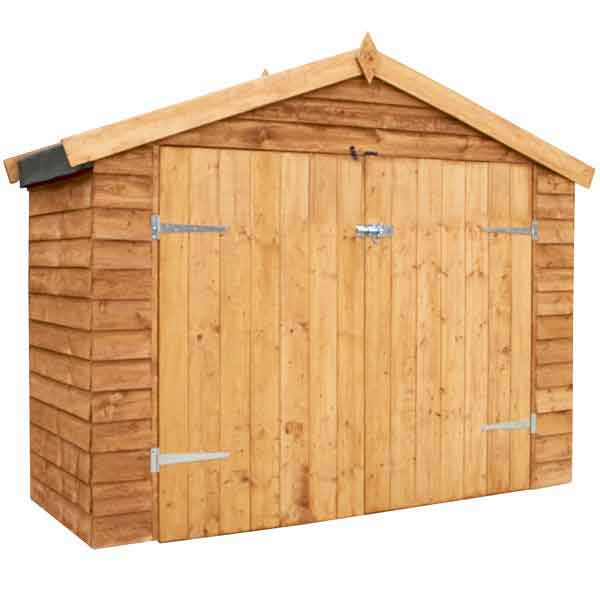 7 x 3 wooden garden overlap apex bike store double doors